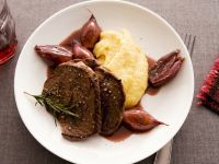 Venison Steak with Mashed Potatoes and Red Wine-Shallot Sauce