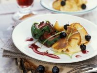 Venison Steak with Red Wine Sauce and Thin Pancakes recipe