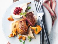 Venison Steaks with Bacon and Mushrooms recipe