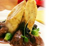 Venison Stew with Dumplings, Brussels Sprouts and Mushrooms recipe