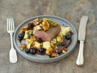 Venison with Chanterelles and Blueberries recipe