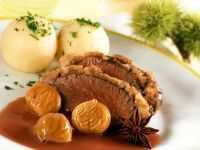 Venison with Chestnut Crust and Dumplings recipe