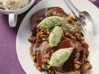 Venison with Gravy, Mushrooms and Savoy Gnocchi recipe