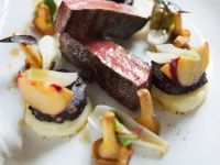 Venison with Puree and Chanterelles