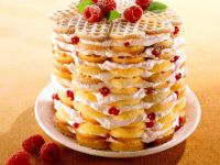 Wafer Cakes with Raspberries and Cream recipe