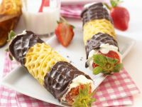 Waffle Cookies with Strawberries and Cream recipe