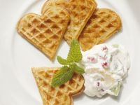 Waffle Hearts with Fruit Cream recipe