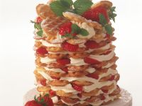Waffle Tower with Strawberries and Whipped Cream recipe
