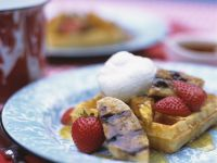 Waffles with Bananas and Strawberries recipe