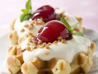 Waffles with Cherry Compote recipe