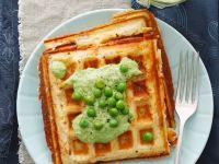 Waffles with Creamy Peas recipe