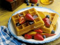 Waffles with Fresh Fruit and Syrup recipe