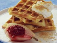 Waffles with Poached Pear and Cranberry recipe