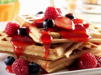 Waffles with Raspberry Sauce recipe