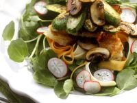 Watercress Salad with Button Mushrooms and Zucchini recipe