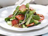 Watercress Salad with Cucumber, Strawberries and Honey Mustard Vinaigrette recipe