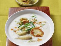 White Asparagus Soup with Ricotta Pancakes