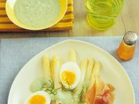 White Asparagus with Prosciutto and Basil Cream recipe