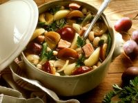 White Bean Stew with Pork and Plums recipe