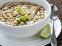 White Chili with Avocado Garnish recipe