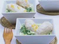 White Fish Dumplings in Wine and Spinach Sauce recipe
