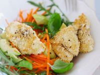 Fish in a Sesame Crust with Carrots and Avocado Salad recipe