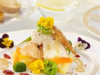 White Fish with Broccoli and Flowers recipe
