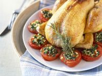 Whole Chicken with Parsley-filled Tomatoes recipe