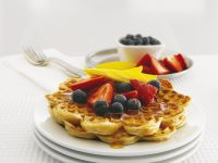 Whole Grain Waffles with Fruit and Maple Syrup recipe