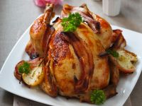 Whole Poultry with Streaky Bacon recipe