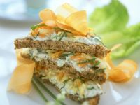 Whole-Wheat Bread with Walnut Cream Cheese Spread, Apples and Carrots recipe