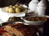 Wild Boar Roast with Elderberry Apples and Kale Gratin recipe