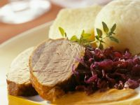 Wild Boar with Red Cabbage and Dumplings recipe