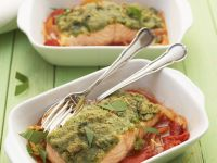 Wild Garlic-crusted Salmon Fillets with Roasted Bell Peppers recipe
