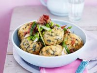 Wild Herb Dumplings with Bacon and Onions recipe