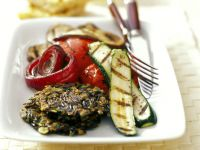 Wild Rice Patties with Summer Vegetables