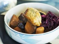 Wintry Pumpkin Stew with Red Cabbage and Dumplings recipe