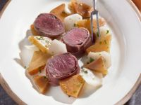 Wrapped Lamb Medallions with Turnips recipe