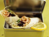 Wraps Stuffed with Shrimp, Sprouts and Salad