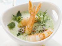 Yogurt Soup with Herbs and King Prawns recipe