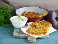 Zucchini and Potato Pancakes with Quark Dip