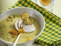 Zucchini and Squash Soup with Chicken and Chips recipe