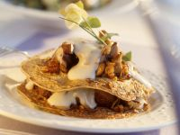 Zucchini Crepes with Mushrooms and Walnuts recipe