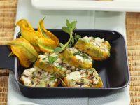 Zucchini Flowers Stuffed with Feta, Herbs and Mushrooms recipe