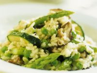 Zucchini Risotto with Peas recipe