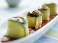 Zucchini Rolls with Ground Meat Filling and Tomato Sauce recipe