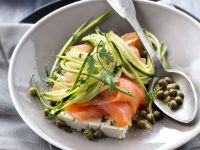 Zucchini Salad with Smoked Salmon, Capers and Feta recipe