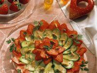 Zucchini Strawberry Carpaccio with Pine Nuts recipe