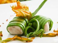 Zucchini Wrapped Monkfish with Zucchini Blossoms recipe