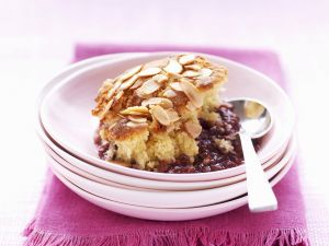 Almond Pudding with Plums recipe